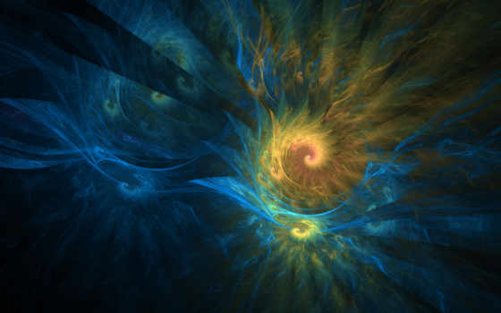 blue, yellow, fractals, abstract, black, multicolor, rainbows, зелёный,