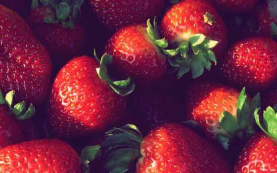 экран, весь, ягоды, клубника, компьютера, еда, красивые, макро, качестве,