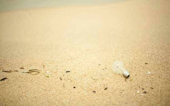 макро, песок, море, берег, пляж, лампочка, пенка,