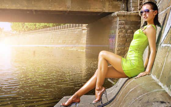 платье, девушка, коротком, очках, зеленом, мост, платья, девушек,
