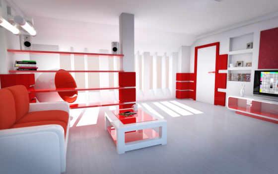 комната, стиль, красные