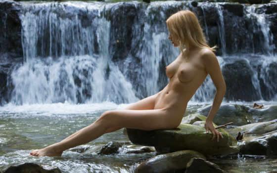 девушки, водопада, sexy