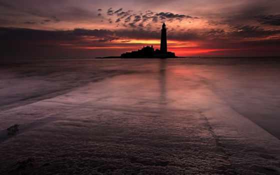море, маяк, landscape