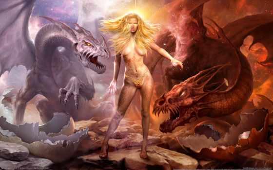 драконы, заставки, девушка