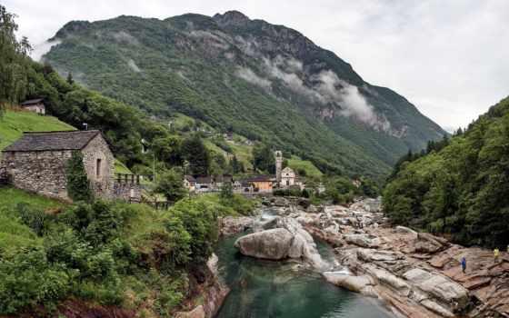 горы, природа, verzasca, valle, камни, swiss, италии, парки, картинка, лес, getbg,