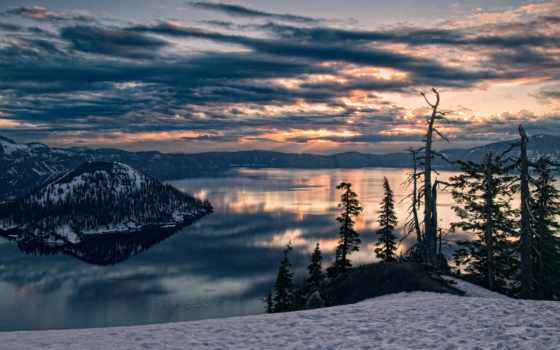 góry, tapety, zima, pulpit, słońca, zachód, tapet, категории,
