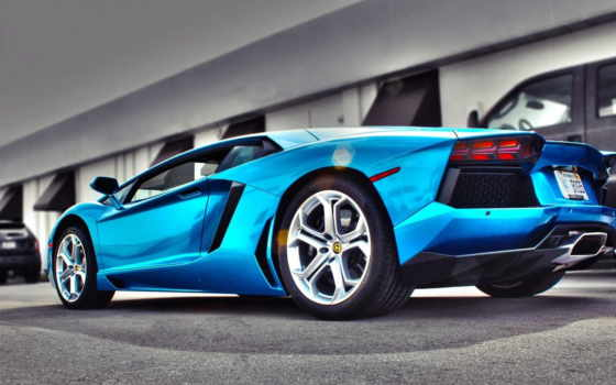 lamborghini, aventador, ламборгини, автомобили, сзади, blue, взгляд,