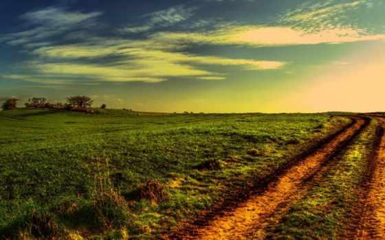 зелёный, закат, дорога, поле, вечер, landscape, оранжевый, тени,