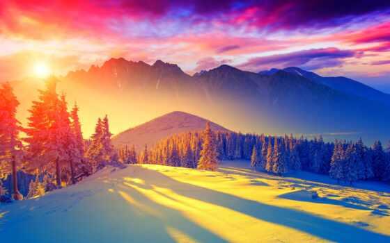 рассвет, гора, winter, landscape, коллекция, природа, goodfon, снег, озеро, sun, colorful