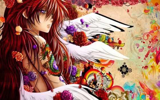 anime, краски, цветы