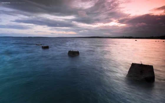 море, silent, закат