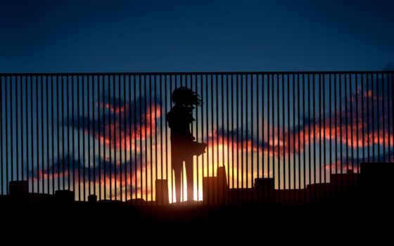 anime, девушка, закат, телефон, крыше, unknown,