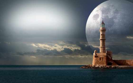 lighthouse, луна, supermoon, небо, free, fantasy,