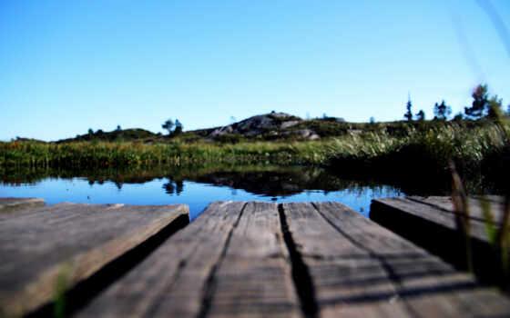 мостик, озеро