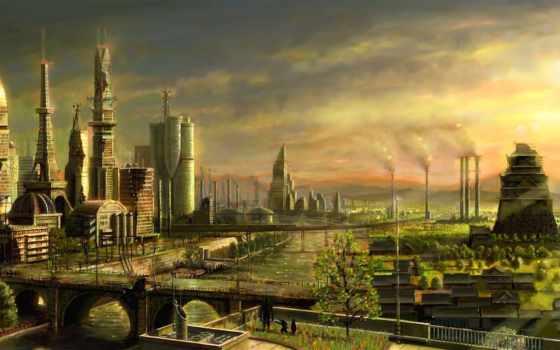 город, фэнтези, люди