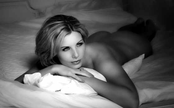 голая, девушка, кровать