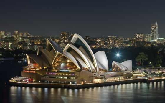 австралия, сидней, театр, opera, house, sydney, вечер,