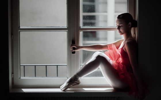 балерина, окно, красивые