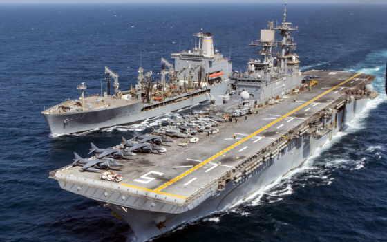 uss, bataan, море, amphibious, корабль, conducts, replenishment, deployed, lhd,