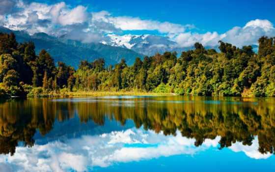 new, zealand, новая, горы, озеро,