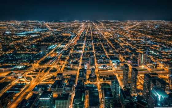 chicago, top, willis, sears, взгляд, башня, город, ночь,