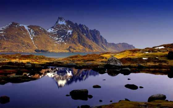 природа, небо, горы, water, камни, отражение, синее, река,