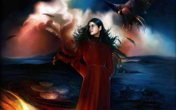 море, ангелы, картины, elfy, хрустальные, крестом, devushki, товар, дома, сада,