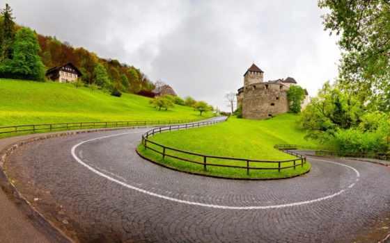 vaduz, лихтенштейн, castle, дорога, windows, альпы, природа, desktop,