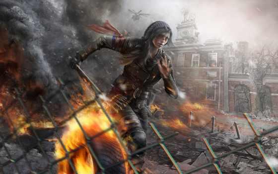 revolution, homefront, широкоформатные, развалины, девушка, разруха, уничтожение, огонь,