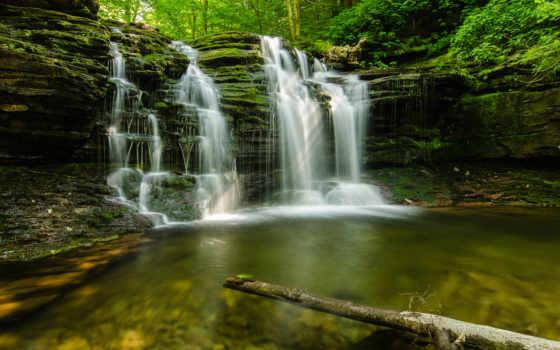 лес, powerpoint, водопад, фоны, джур, prezentacii,