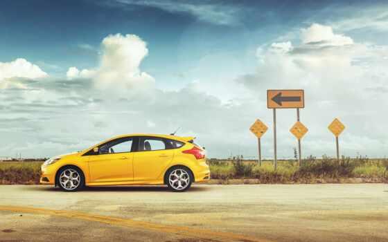 car, yellow, ford, focus, renault, free, небо, kartinik, авто