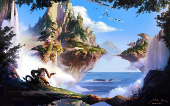 острова, летающие, обои, деревья, море, арт, небо,