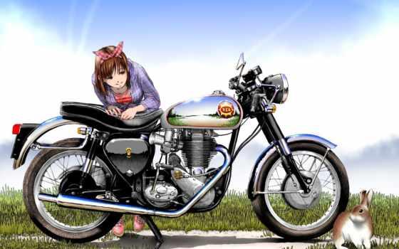 мотоцикл, рисунок, девушка Фон № 91265 разрешение 1920x1200