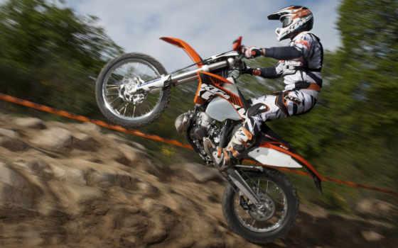 ktm, exc, скорость, мотоцикл, прыжок, мотокросс,