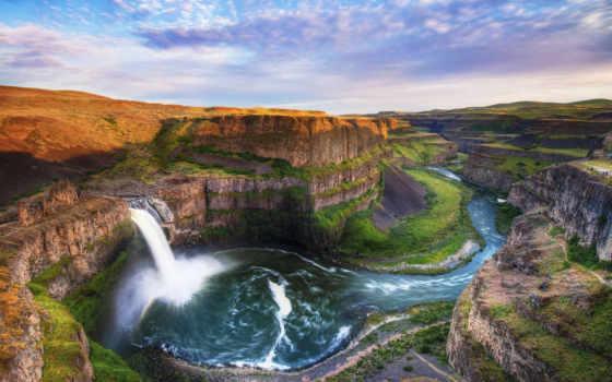 falls, водопад, palouse, скалы, поток, река, фоллс, сша, park, state,