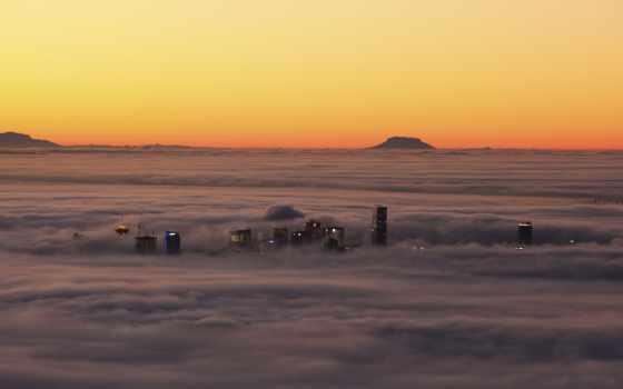 высоты, птичьего, взгляд, полёта, город, тумане,