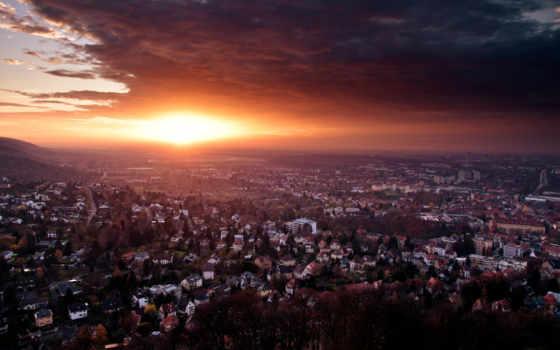 закат, города, небо, дома, городом, со, architecture, texas, сантиметров,