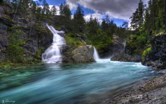 река, raging, waterfalls, лес, clouds, wonderful, hdr,