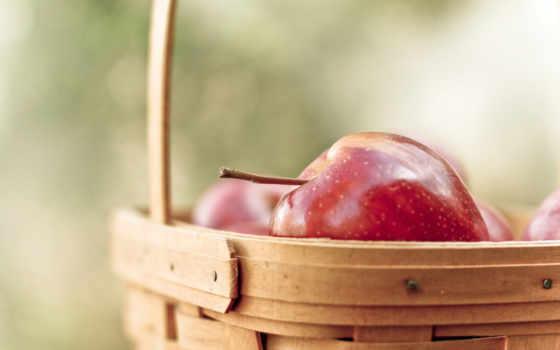 яблоки, красные, фрукты, корзина, еда, спелые,