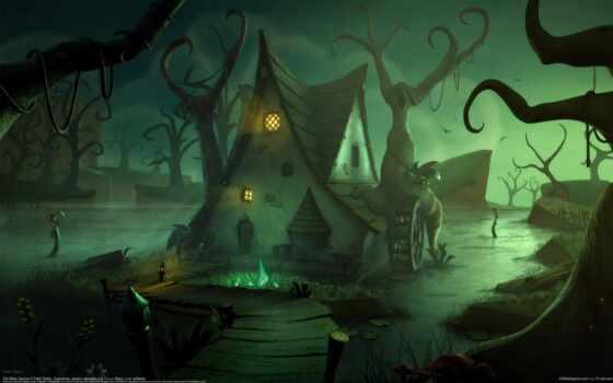 fantasy, swamp, house, фото, drawing