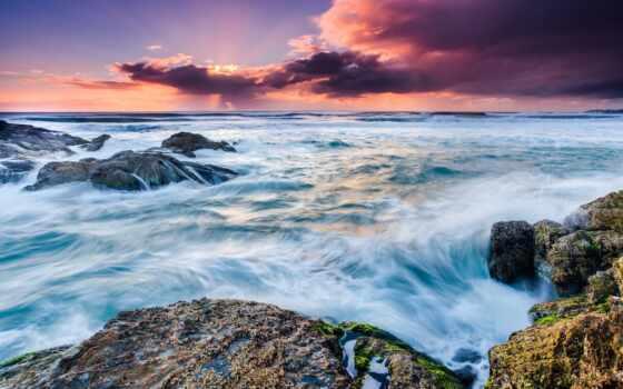 море, природа, dimension, облако, exposure, long, rock, water, закат, пляж