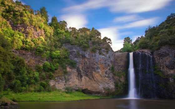 водопад, скалы