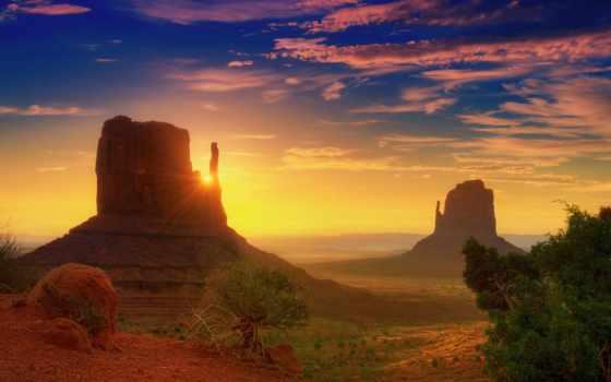 долина, монументов, utah, памятник, рассвет, rays, oblaka, пустыня, штата,
