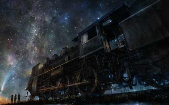 anime, iy, samsung, tujiki, art, небо, поезд, ночь, galaxy, звезды, звездное,