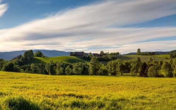 iphone, trees, summer, холмы, небо, norwegian, летние, поле, margin, луг, oblaka,