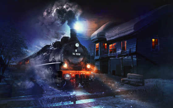 поезд, ночь, winter, снег, локомотив, breathtaking