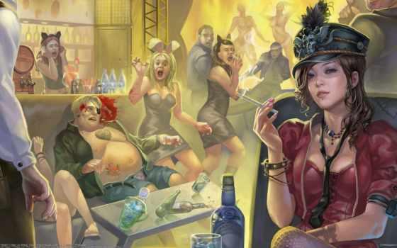 девушка, выпивка, сигарета