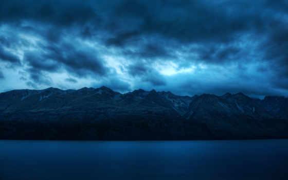 oblaka, горы, сумерки