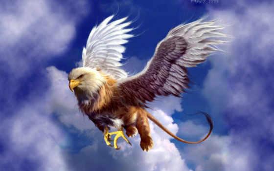 чудовища, монстры, летающие, грифоны, мифологические, головой, крылатые, грифы, львиным, туловищем, глаза,