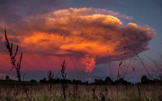 вулкан, извержение, calbuco, chile, volcanic, снять,
